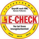 E-Check vom Innungsfachbetrieb geprüft nach VDE.